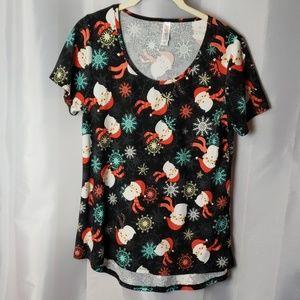 Santa and snowflakes sz s  LularoeT-shirt.  b75